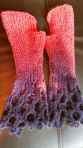 Hand Dyed Red Alpaca Mits